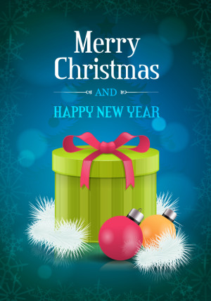 Christmas gift with ornaments flyer design vector illustration