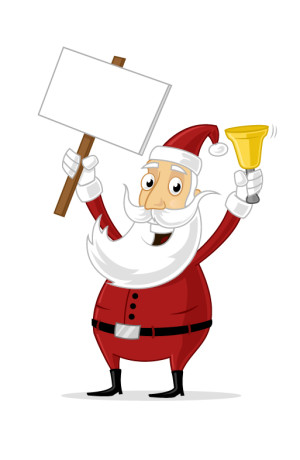 Happy Santa Claus holding bell and blank sign board vector cartoon illustration