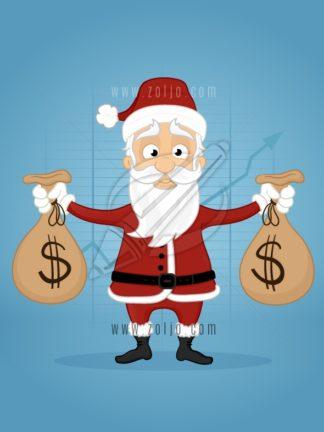 Happy santa claus holding dollar money bags vector cartoon illustration