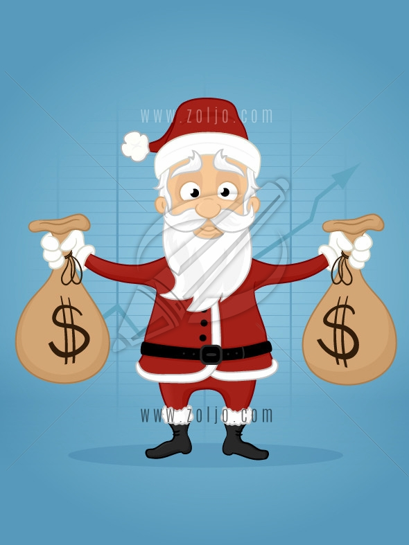 Happy santa claus holding dollar money bags vector cartoon illustration