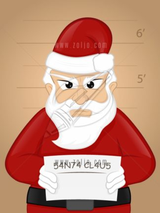Angry criminal santa claus getting mugshot vector cartoon illustration