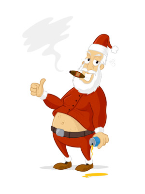 Drunk Santa Claus smoking cigar vector cartoon illustration