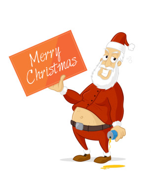 Drunk Santa Claus holding board sign with Merry Christmas text vector cartoon illustration