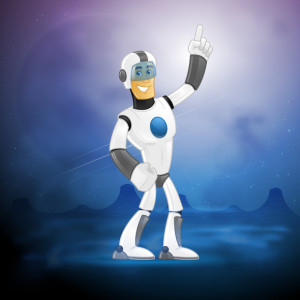 happy futuristic space soldier vector cartoon illustration