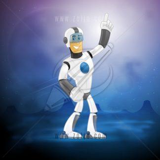 happy futuristic space soldier vector cartoon illustration