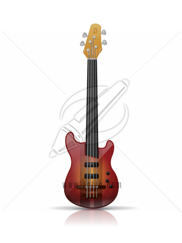 Electric bass guitar vector illustration