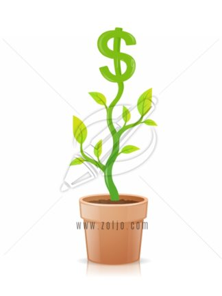 Green plant with dollar symbol vector illustration isolated on white