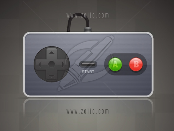 Vintage retro joypad vector illustration