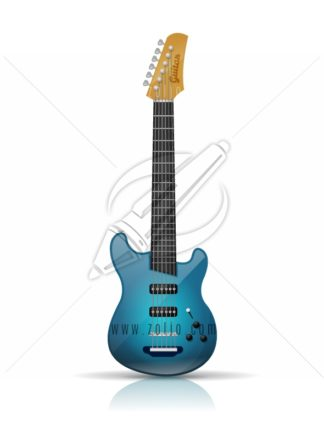 Blue electric guitar vector illustration isolated on white