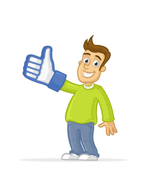 Happy man wearing thumb up like glove vector cartoon illustration