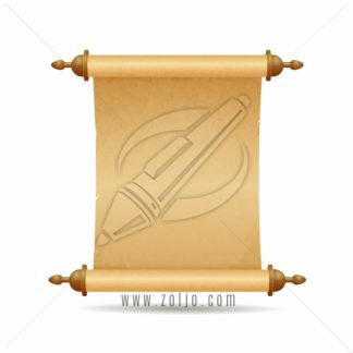 Parchment scroll vector illustration isolated on white