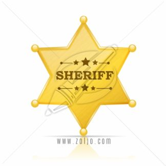 Golden sheriff star badge vector illustration isolated on white