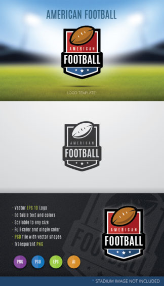 Generic american football team shield logo template.