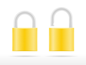 Two golden padlocks icons, locked and unlocked vector illustration