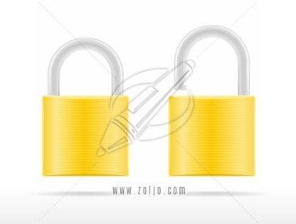 Two golden padlocks icons, locked and unlocked vector illustration