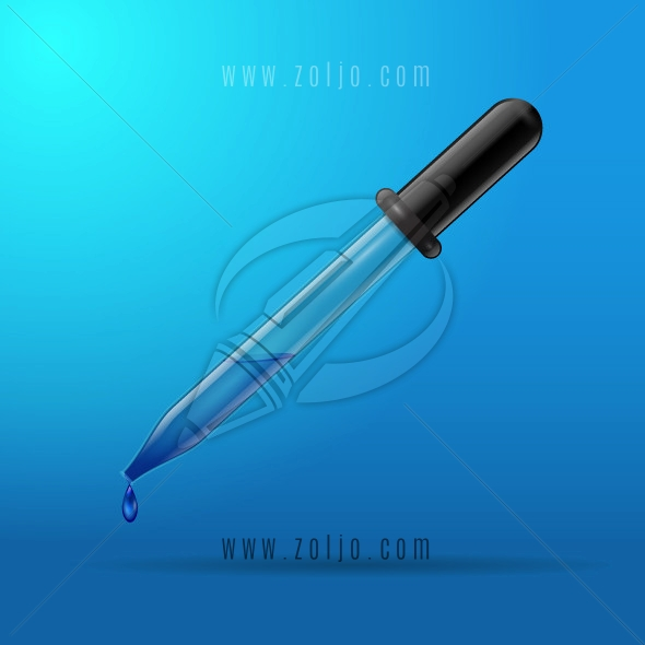 Pipette dropping liquid on blue background vector illustration