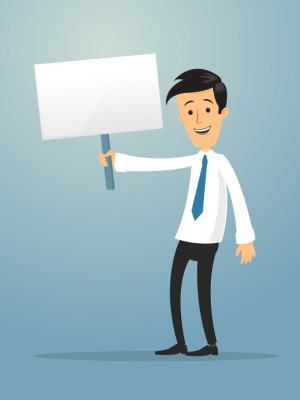 Happy businessman holding blank sign board vector cartoon illustration