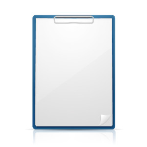 Blue clipboard with paper, isolated on white vector illustration.
