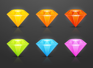 Colorful diamonds - gems set. Vector illustration