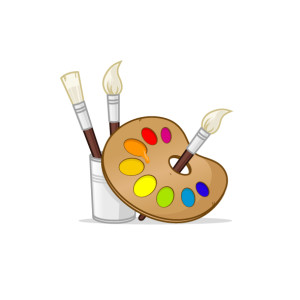 Artist palette with paintbrushes vector illustration
