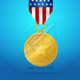 Gold patriotic medal with united states flag vector illustration