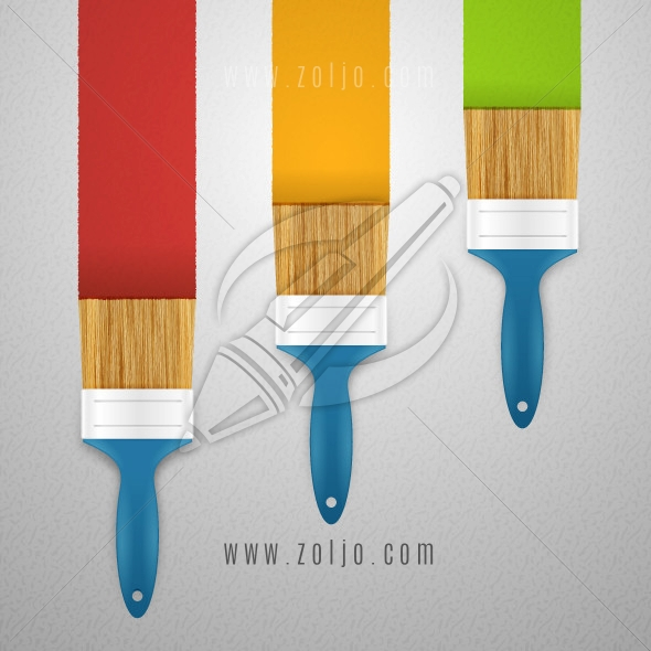 Paint brushes painting colors on the wall vector illustration