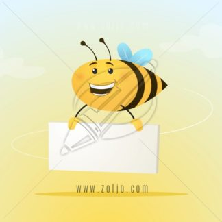Cute little bee holding blank cardboard vector cartoon illustration