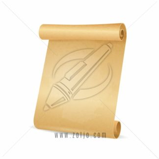 Scrolled old paper - parchment isolated on white vector illustration