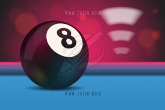 Eight ball on blue pool/billiard table with bokeh and lights in background vector illustration