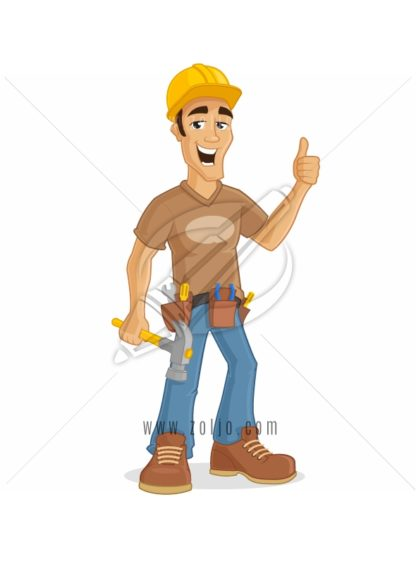 Happy male contractor holding hammer and showing thumb up vector cartoon Illustration.