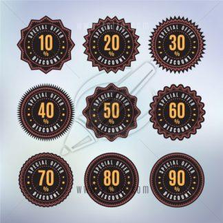 Vintage/retro badges with percentage discount vector illustration