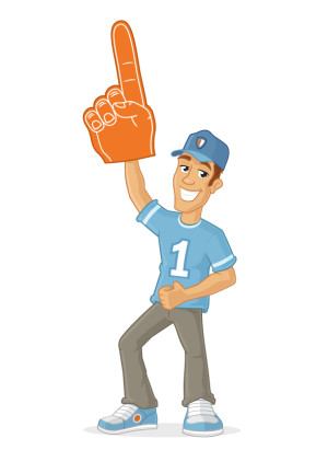 Happy male sports fan rising foam finger in the air vector cartoon illustration