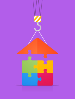 Flat style illustration of construction crane putting roof on the puzzle house vector