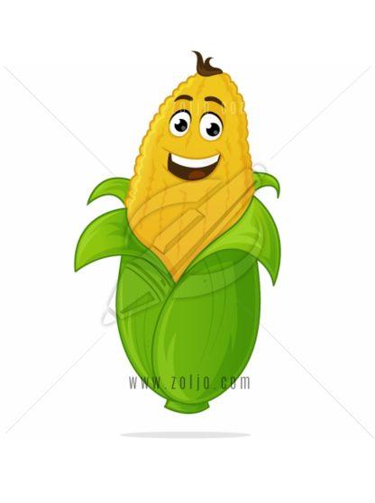 Happy corn cartoon mascot vector illustration
