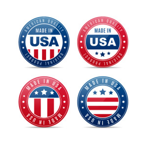 Four glossy badges with United States flag colors with texts MADE IN AMERICA and AMERICAN PRODUCT vector illustration