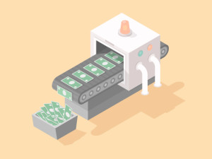 Machine making money isometric vector illustration in flat style.
