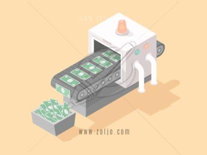 Machine making money isometric vector illustration in flat style.