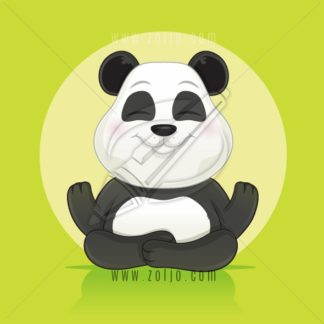 Happy little panda bear sitting and meditating vector cartoon illustration