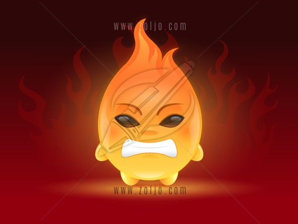 Cute little angry fireball cartoon mascot character illustration