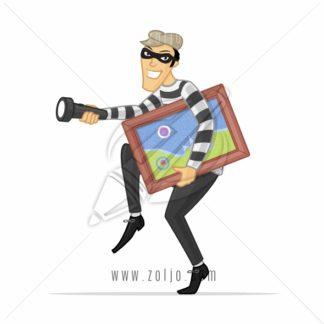 Thief stealing piece of art vector cartoon illustration