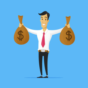 Businessman holding money bags with dollar signs vector cartoon illustration