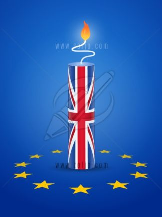 Brexit concept - firecracker with United kingdom and European Union flag vector illustration