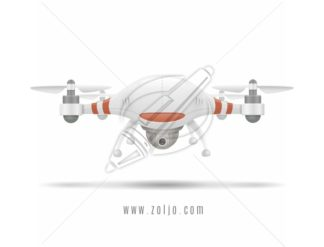 White quadcopter – drone realistic vector illustration.
