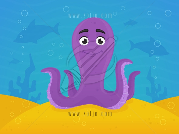Happy cartoon octopus under the sea vector illustration.