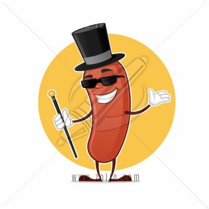 Wiener gentleman or pimp cartoon mascot vector illustration