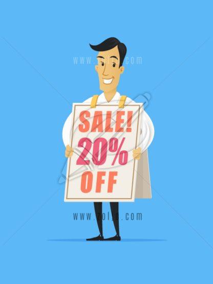 Happy businessman wearing sandwich advertising board with sale ad vector cartoon illustration.