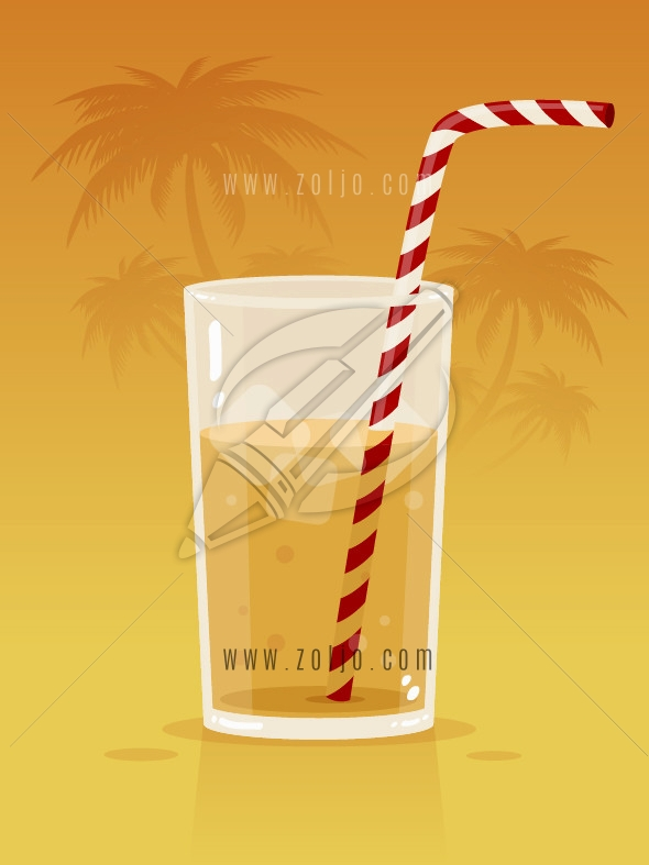 Glass with soda juice drink and straw with palm trees in the background