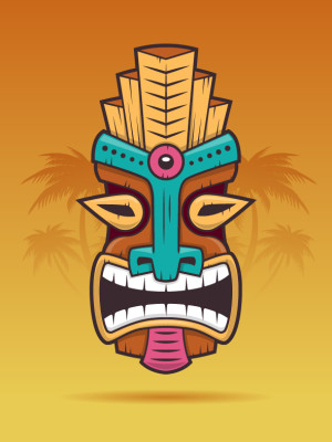 Polynesian Tiki mask on a summer beach background with palm trees vector illustration.