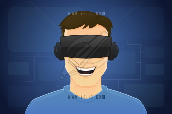 Happy young man with VR glasses. Virtual reality concept vector illustration.