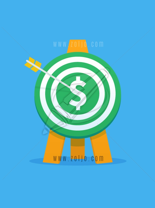 Green target with arrow and dollar sign vector illustration